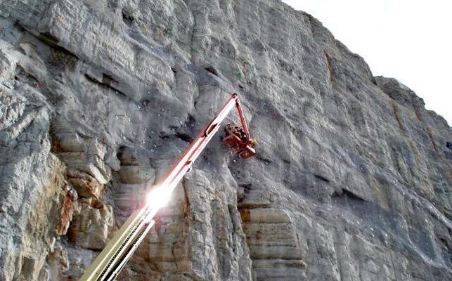 Shotcrete-stabilized cliff